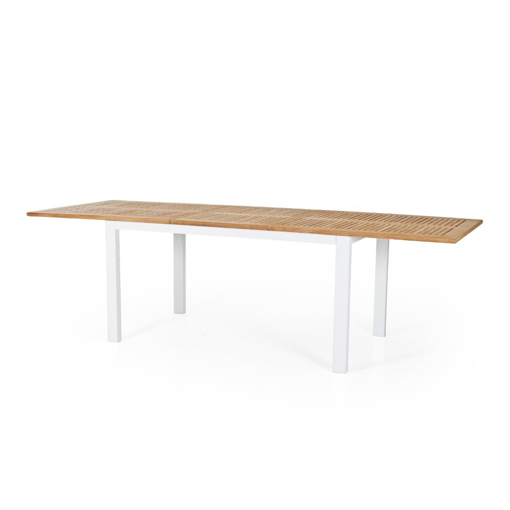 Teakový zahradní stůl s bílým podnožím Brafab Lyon, 194 x 92 cm