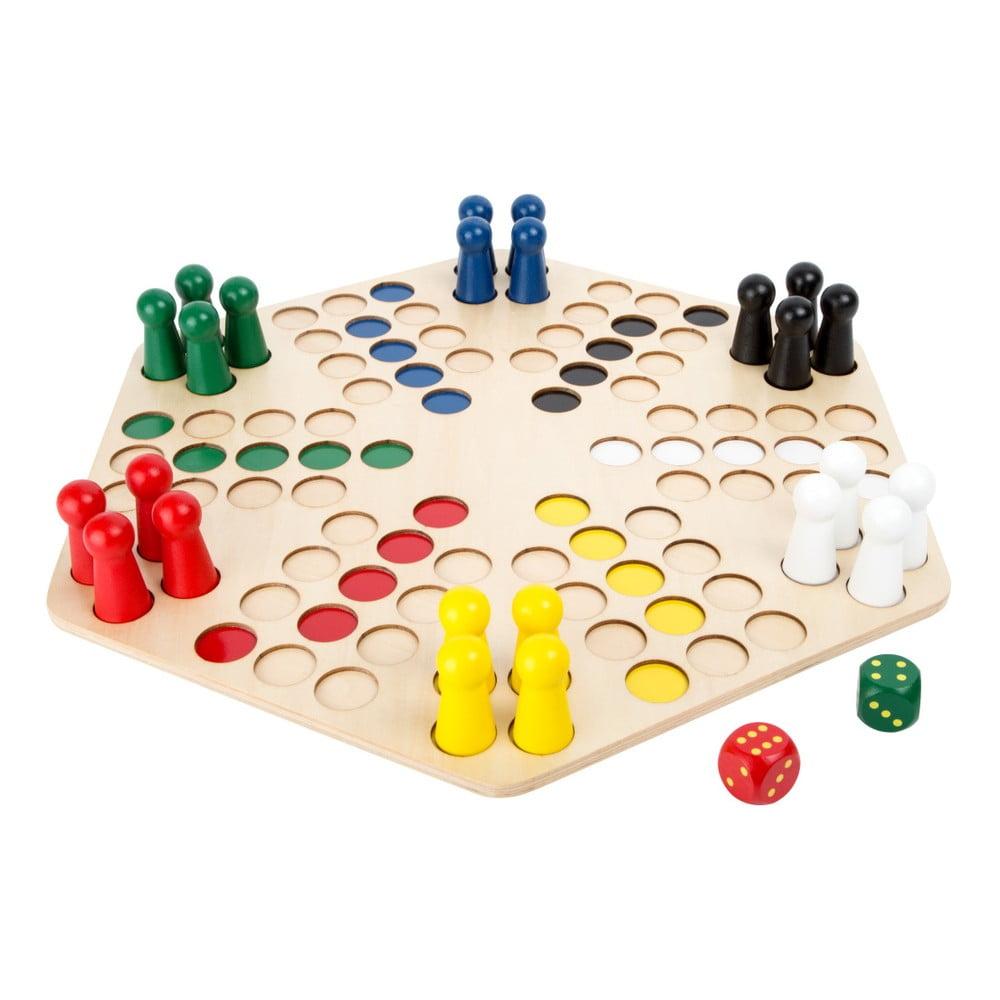 Dřevěná desková hra pro 6 hráčů Legler Ludo Legler