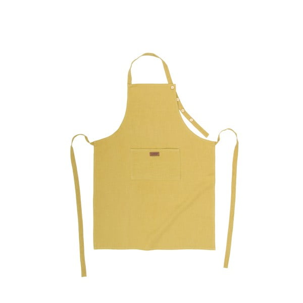 Okrově žlutá kuchyňská zástěra s příměsí lnu Tiseco Home Studio