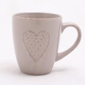 Béžový ručně zdobený keramický hrnek Dakls Heart, 300 ml