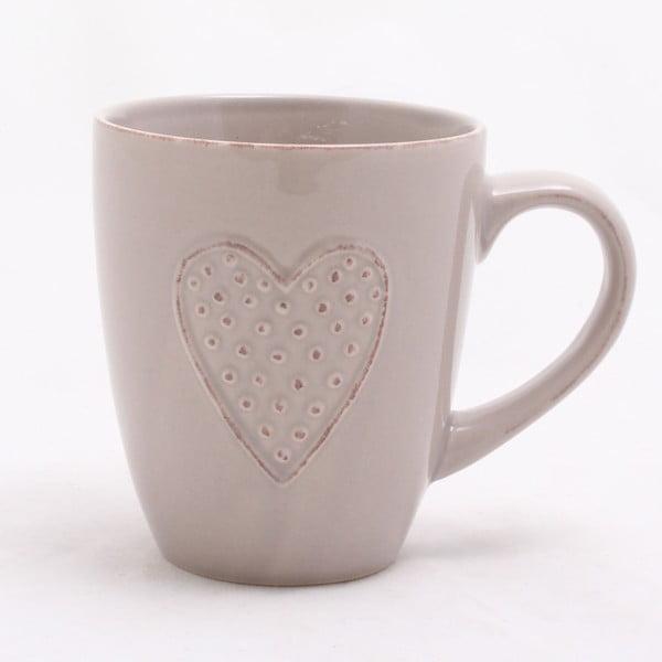 Béžový ručne zdobený keramický hrnček Dakls Heart, 300 ml