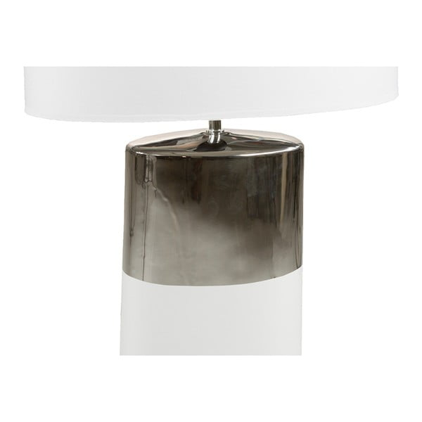 Bílá stolní lampa se základnou ve stříbrné barvě Santiago Pons Reba