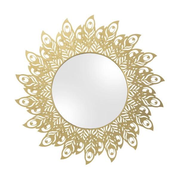 Nástěnné zrcadlo s rámem ve zlaté barvě PT LIVING Peacock Feathers, 60 x 30 cm