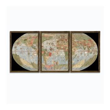 Tablou din 3 piese cu ramă din lemn Globe de la Unknown