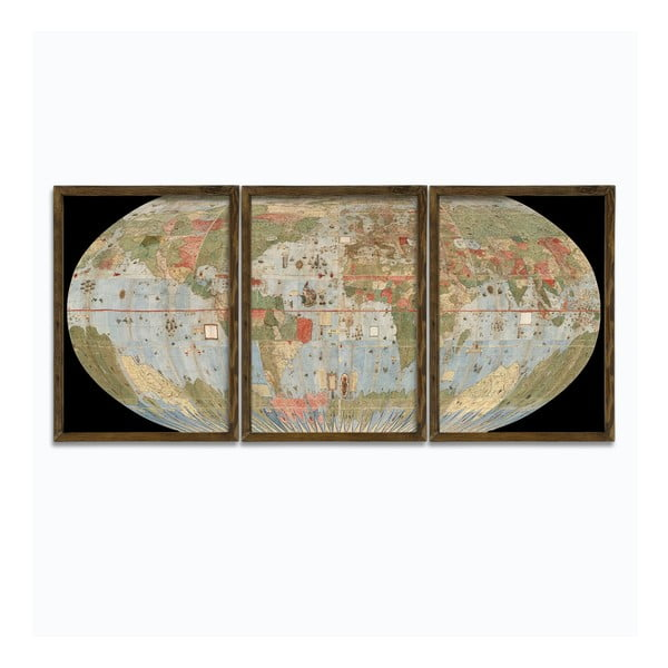 3dílný obraz v dřevěném rámu Globe