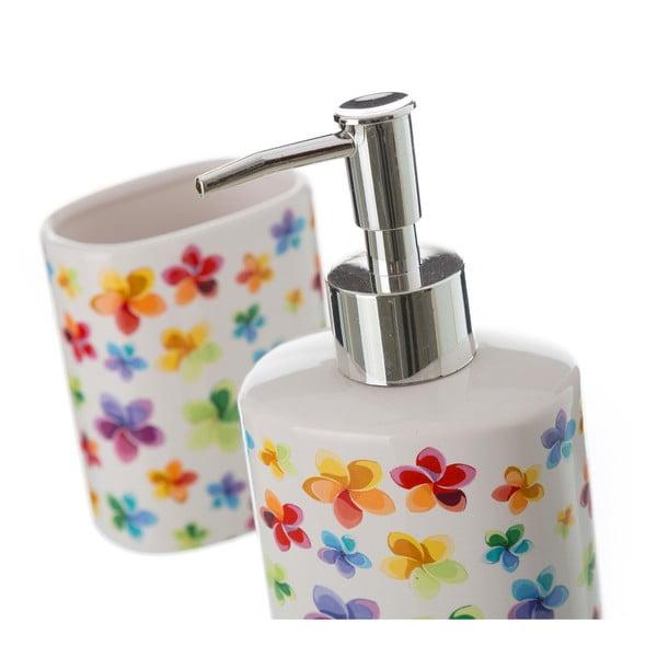 Set dozator săpun și pahar pentru periuța de dinți Unimasa Flowers