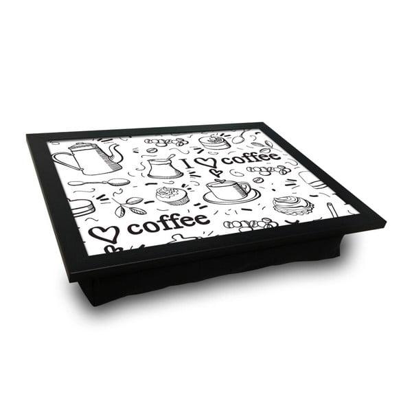 Servírovací tác spolštářem na spodní straně Quirky Coffe, 36 x 46 cm