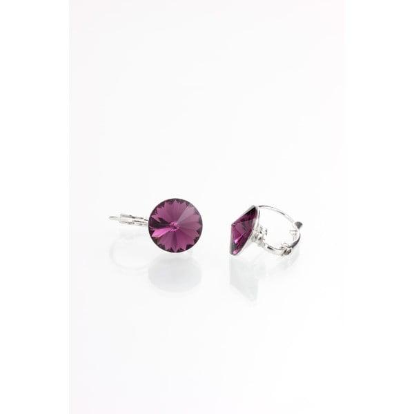 Fialové náušnice se Swarovski krystaly Yasmine Longie Amethist