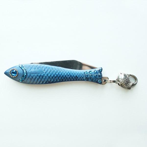 Český nožík rybička, zdobený tmavě modrý lak
