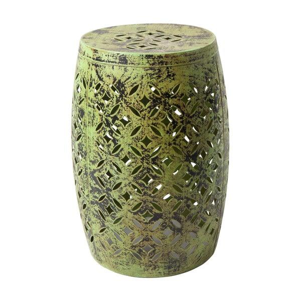 Zelený kovový ručně malovaný odkládací stolek RGE Nour, ⌀30cm
