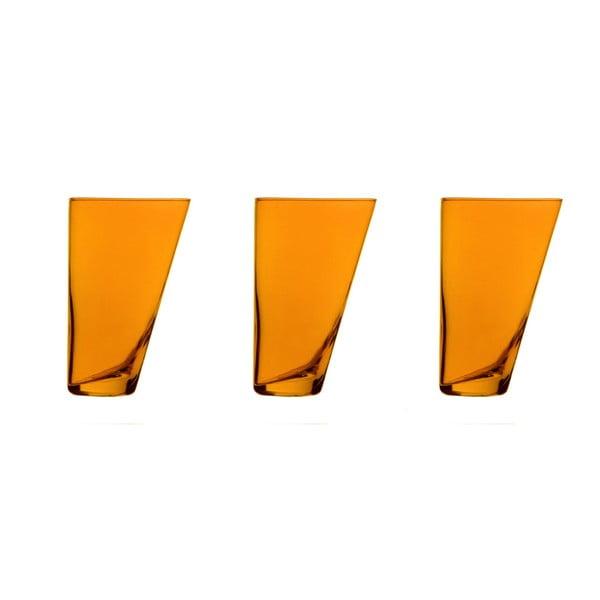 Zestaw 3 pomarańczowych ręcznie wykonanych szklanek Surdic Ponza, 300 ml