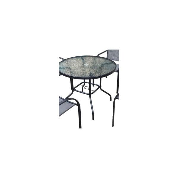 Masă rotundă cu blat din sticlă securizată Timpana Milo