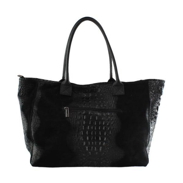 Černá kožená kabelka Chicca Borse Signore