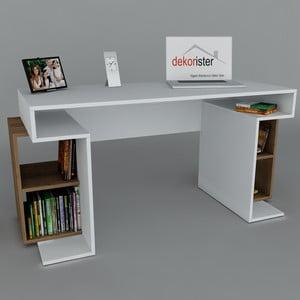 Pracovní stůl Monument White/Walnut, 60x140x75 cm