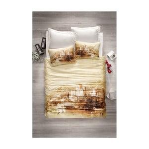 Lenjerie de pat cu cearșaf din satin Mangi, 200 x 220 cm