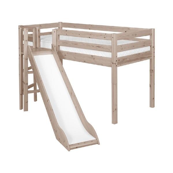 Hnědá středně vysoká dětská postel z borovicového dřeva se skluzavkou Flexa Classic, 90x200cm