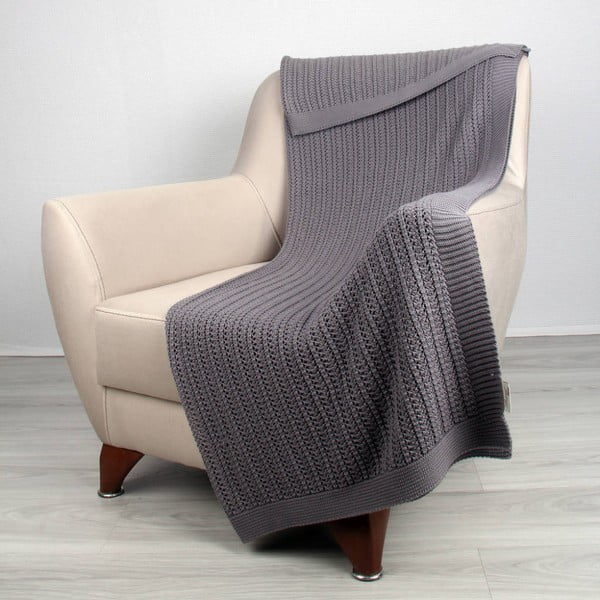 Tmavě šedá bavlněná deka Clen