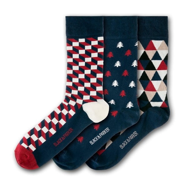Sada 3 párov ponožiek Black & Parker London Cotehe, vl. 37 - 43