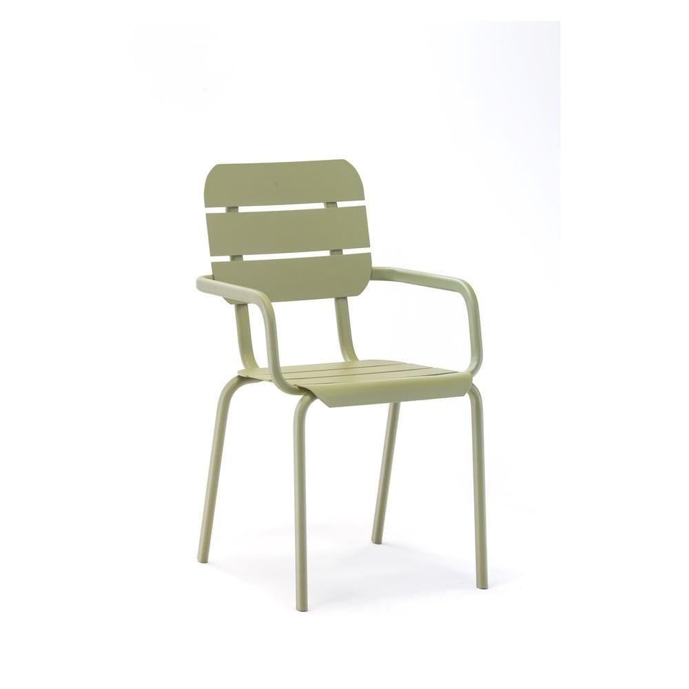 Sada 4 olivově zelených zahradních židlí s područkami Ezeis Alicante