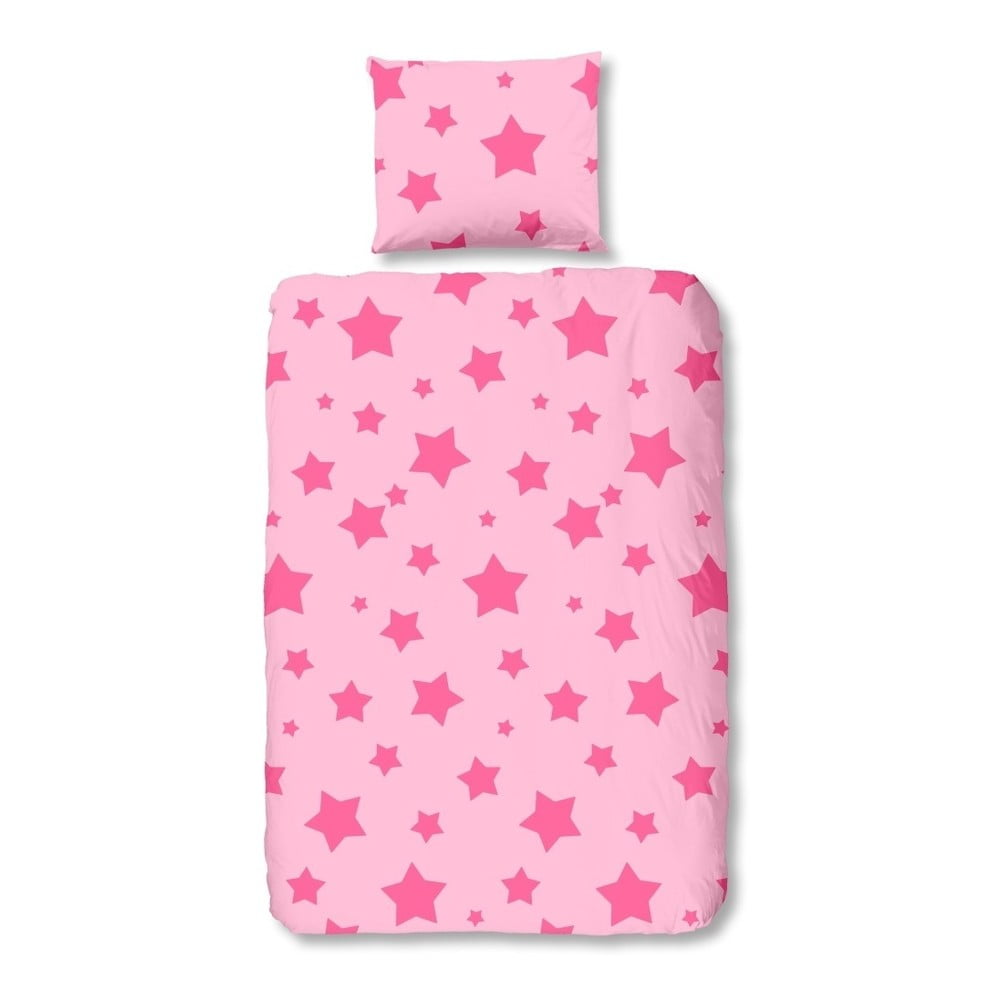 Dětské růžové povlečení na jednolůžko z čisté bavlny Muller Textiels Pink,140x200cm