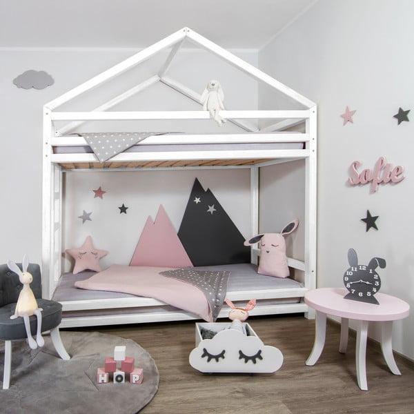 Białe drewniane piętrowe łóżko dziecięce Benlemi Cloudy, 90x200 cm