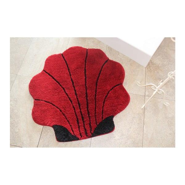 Červená koupelnová předložka ve tvaru mušle, 90 x 90 cm