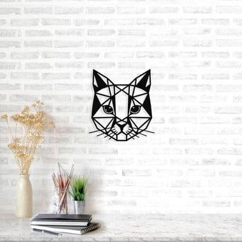 Decorațiune metalică de perete Cat, 45 x 49 cm, negru imagine