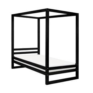 Černá dřevěná jednolůžková postel Benlemi Baldee, 190x120cm