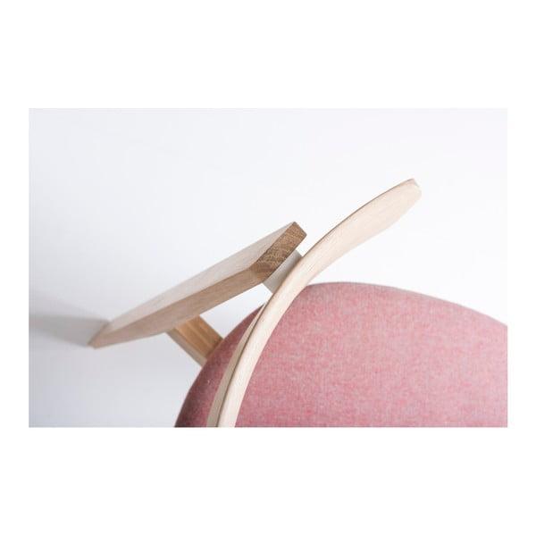 Jídelní židle z masivního dubového dřeva s růžovým sedákem Gazzda Nora
