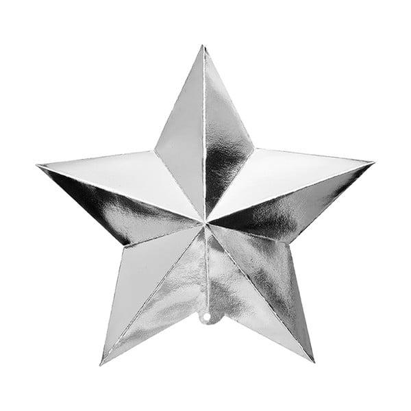 Papírové dekorace 3D Hanging Stars Silver, 3 kusy