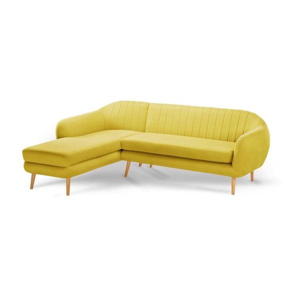 Žlutá trojmístná pohovka Scandi by Stella Cadente Maison Comete, levý roh