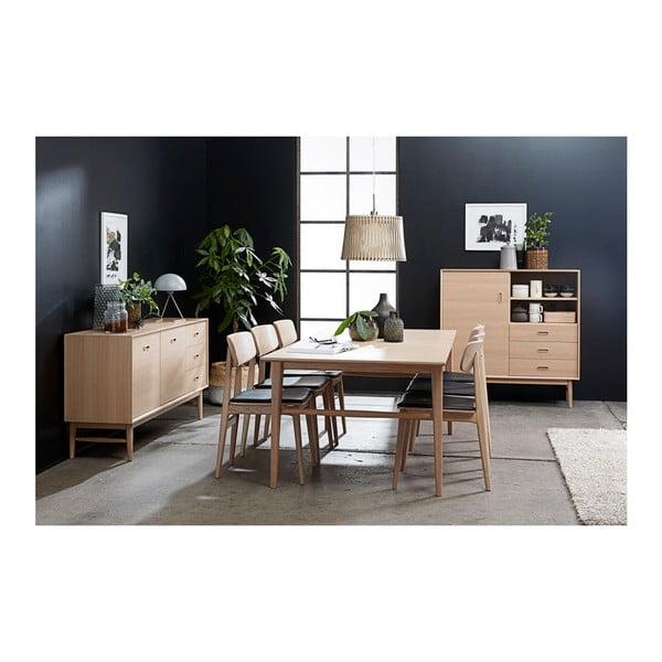 Nízká komoda ze dřeva bílého dubu Unique Furniture Rocca