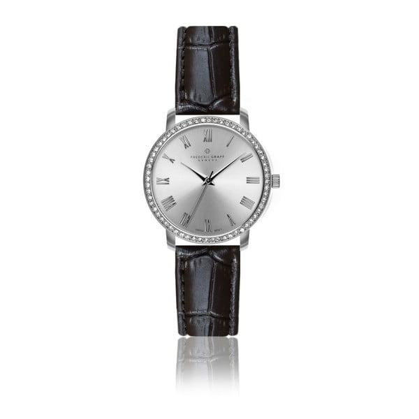 Dámske hodinky s čiernym remienkom z pravej kože Frederic Graff Croco Murico