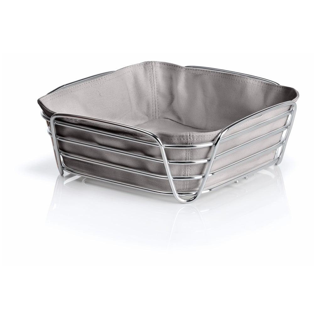 Šedý košík na pečivo s šedou bavlněnou vložkou Blomus Delara, šířka25cm