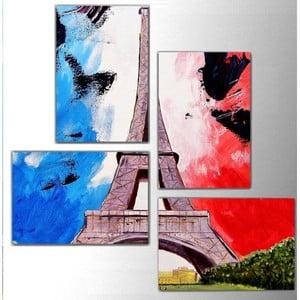 4dílný obraz Color Eiffel, 76x76 cm