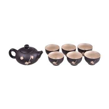 Set ceainic și 6 căni Bambum Fornia, negru de la Bambum