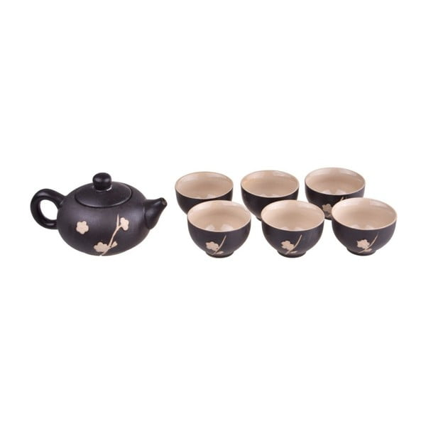 Fornia fekete teáskanna és 6 db csésze - Bambum