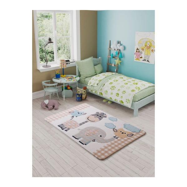 Dětský béžový koberec Confetti Animal Kingdom, 133x190cm