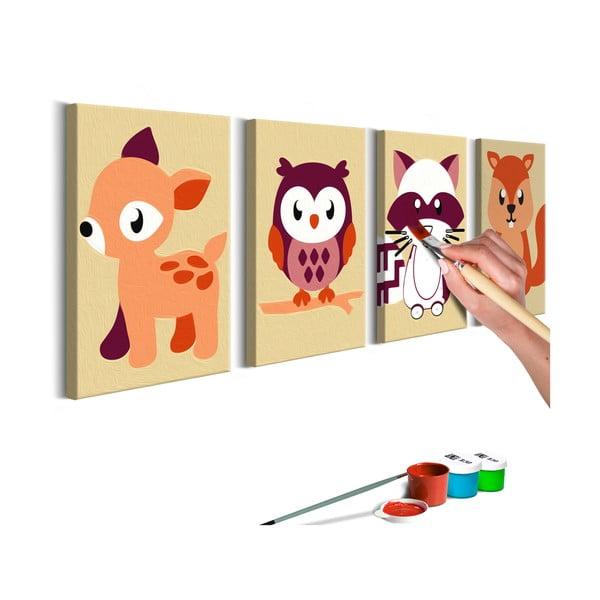 DIY set na tvorbu vlastného obrazu na plátne Artgeist Forest Animals, 44 × 165 cm