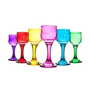 Sada 6 barevných skleněných číší na víno Mezzo, 60 ml