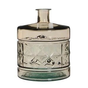 Hnědá skleněná váza Mica Guan, 26x21cm