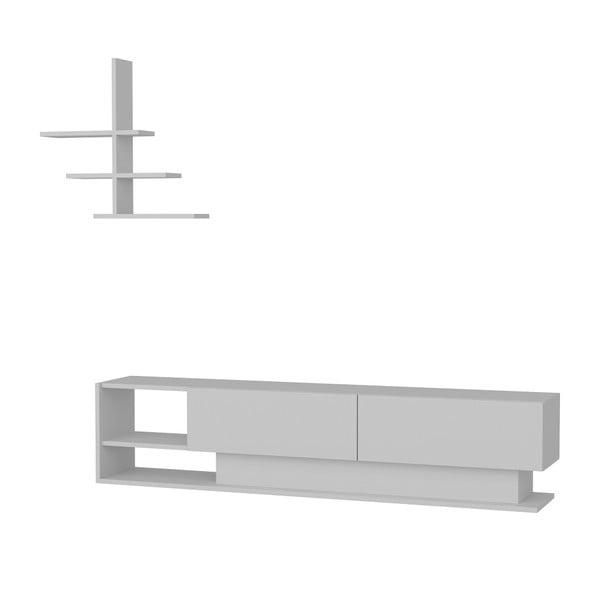 Zestaw białej szafki pod TV i półki ściennej Lucca White