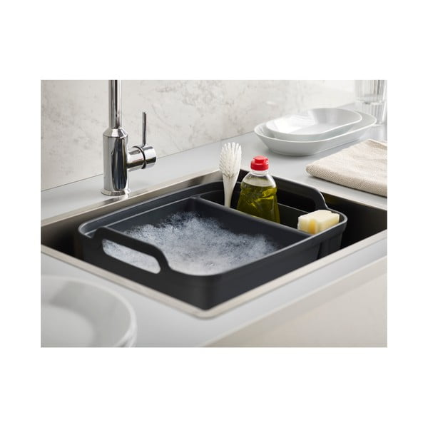 Černá mycí nádoba s přihrádkou na mycí prostředky Joseph Joseph Wash&Drain