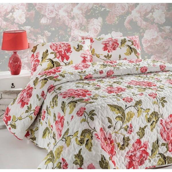 Přehoz přes postel a povlak na polštář Flower Pink, 160x220 cm