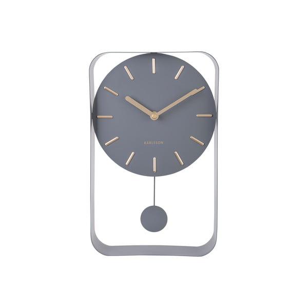 Szary zegar ścienny z wahadłem Karlsson Charm, wys. 32,5 cm