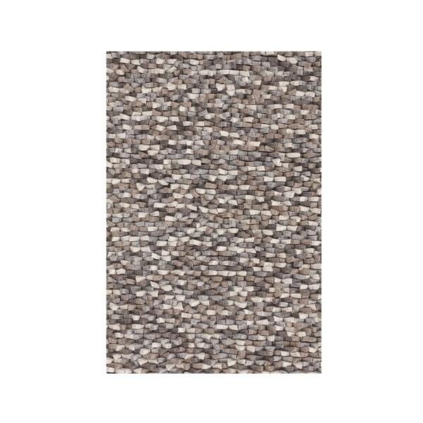 Vlněný koberec Crush, 140x200 cm, hnědý