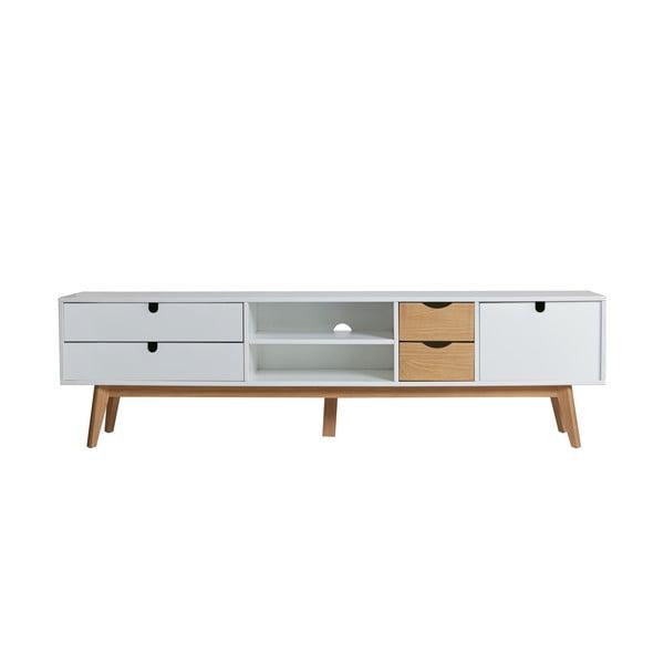 Televizní stolek s bílými detaily Marckeric Mila, 180 x 37 cm