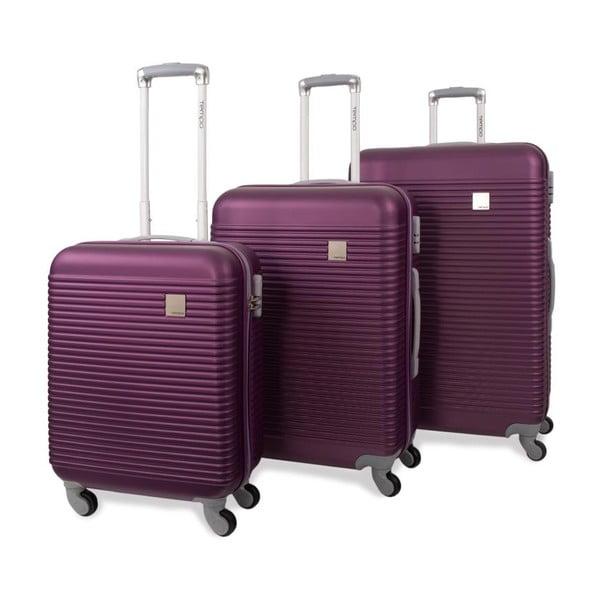 Sada tří fialových cestovních kufrů Jaslen