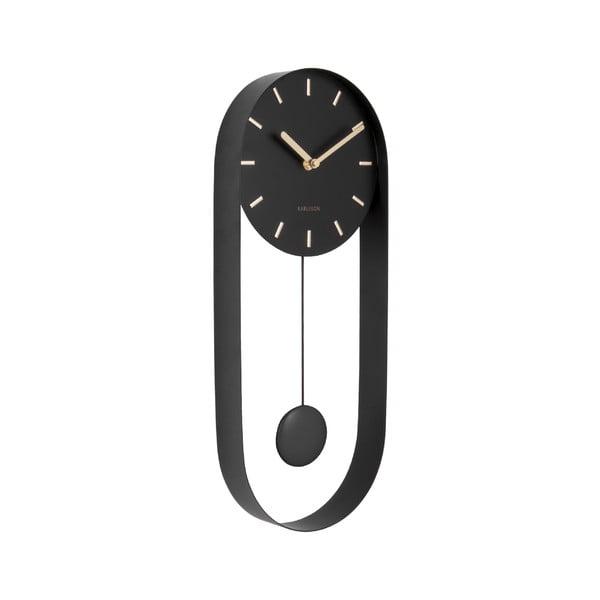 Czarny wahadłowy zegar ścienny Karlsson Charm