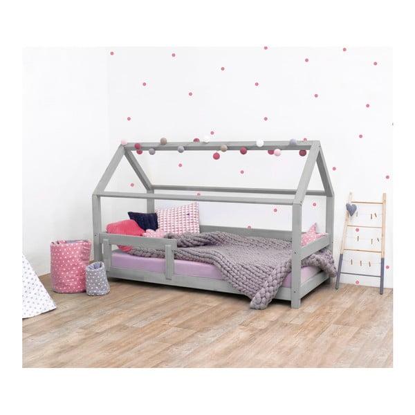 Šedá dětská postel s bočnicí ze smrkového dřeva Benlemi Tery, 120 x 160 cm